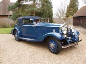 Wedding Car Hire in East Sussex. 1934 Rolls Royce 3-Position Drop Head Coupe